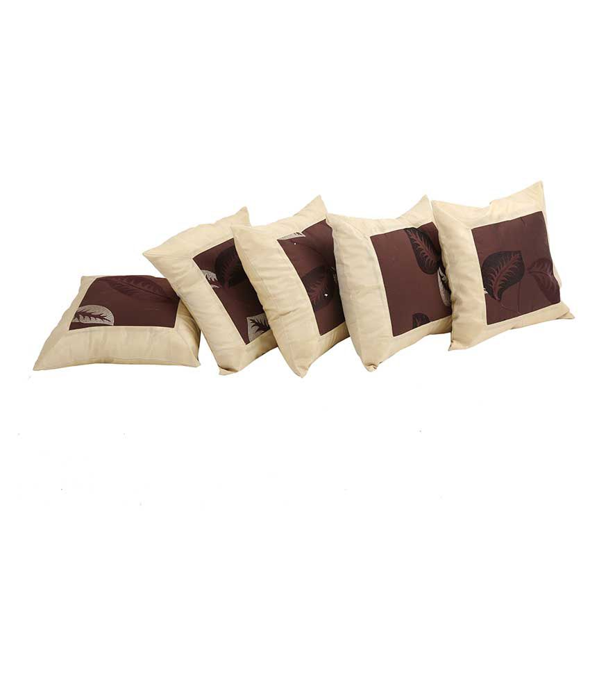 Indigenous Handicrafts Beige Silk Cushion Cover - Set Of 5