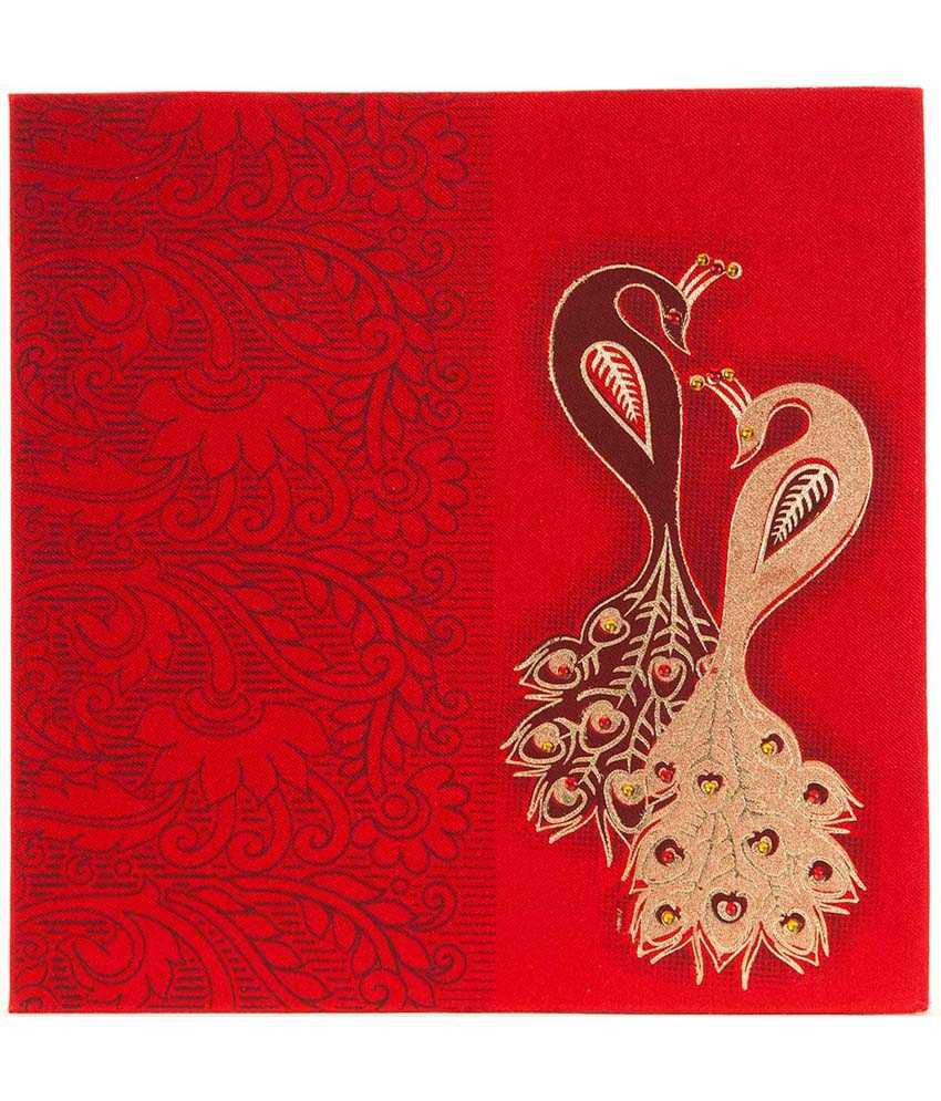 Sevenpromises Red Hindu Wedding Card With Stone Studded