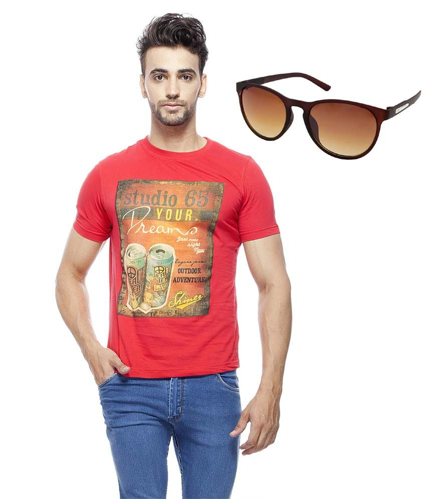 Unicott Red Round Neck T-shirt With Sunglasses