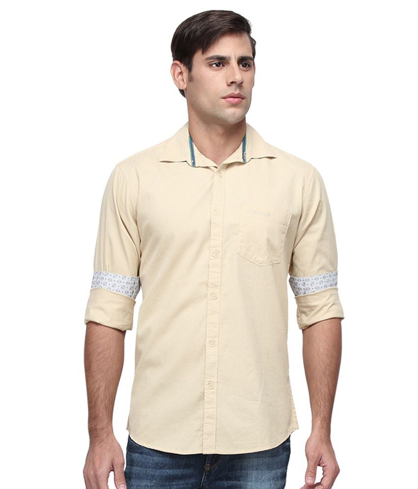 Crosscreek Beige Slim Fit Shirt