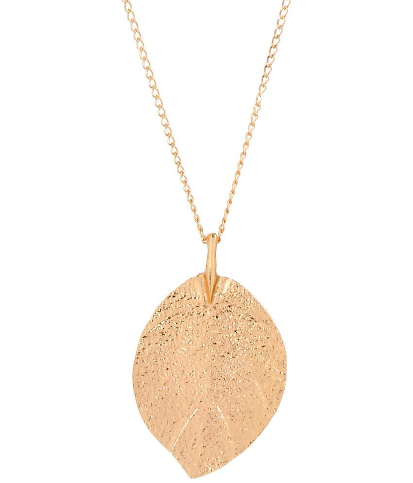 Fayon Weekend Casual Gold Plated Leaf Shape Pendant Long Chain Necklace