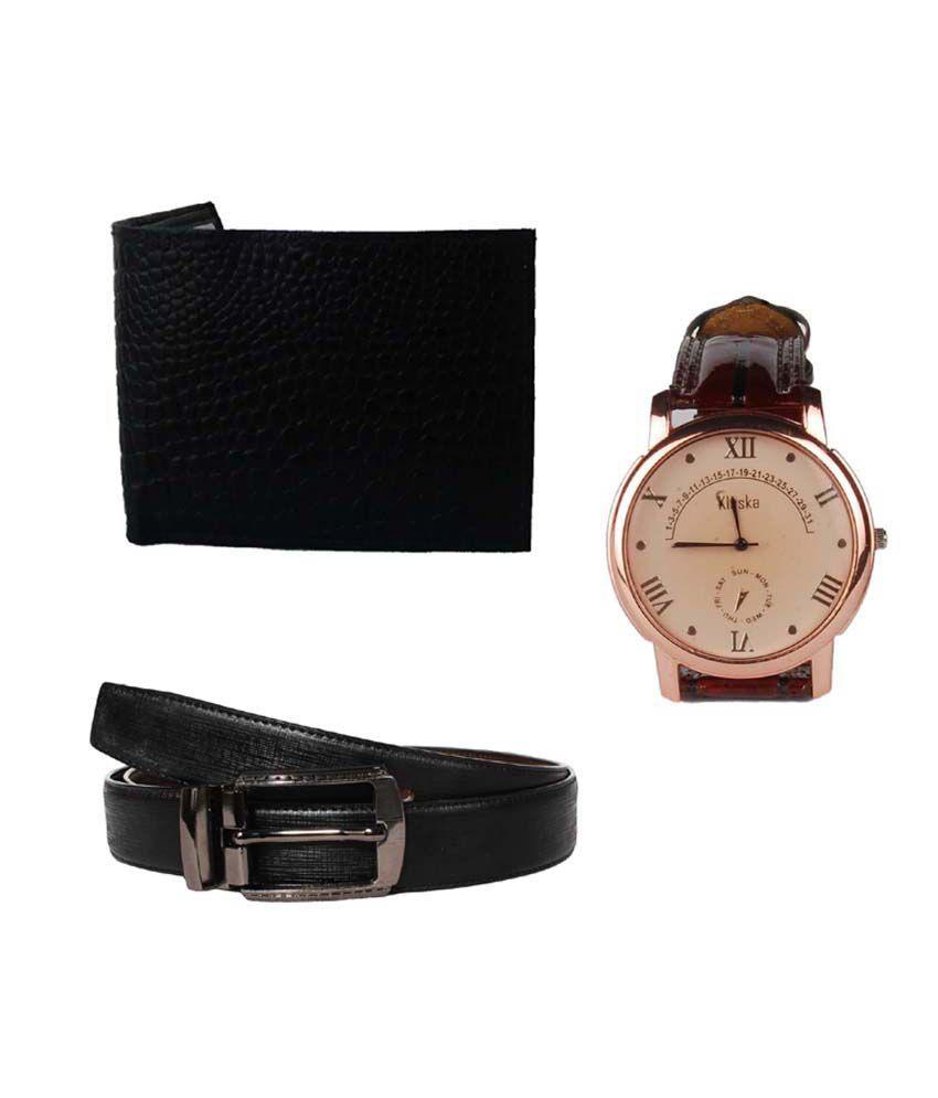 Lenin Combo Of Multicolour Leather Belt, Wallet & Wrist Watch
