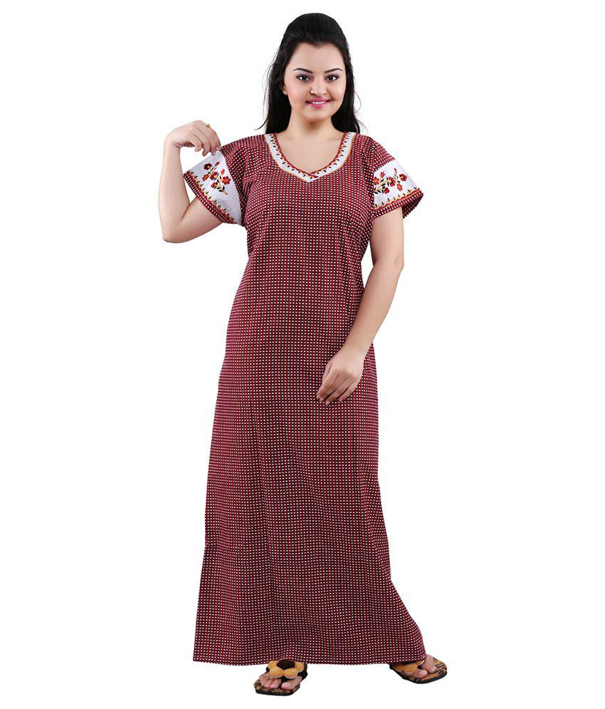 Mahaarani Maroon Cotton Nighty