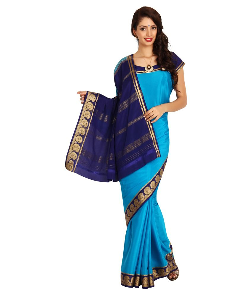 a534c2f67 Kaushika Sarees Blue and Black Mysore Silk Saree - Buy Kaushika Sarees Blue  and Black Mysore Silk Saree Online at Low Price - Snapdeal.com