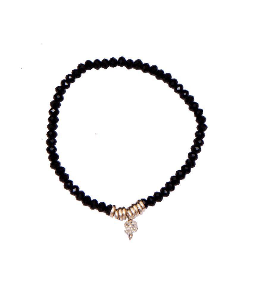 Ratnakar Black Crystal Anklet