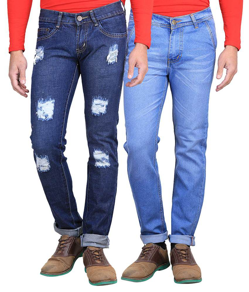 Ave Blue Regular Fit Jeans Pack Of 2