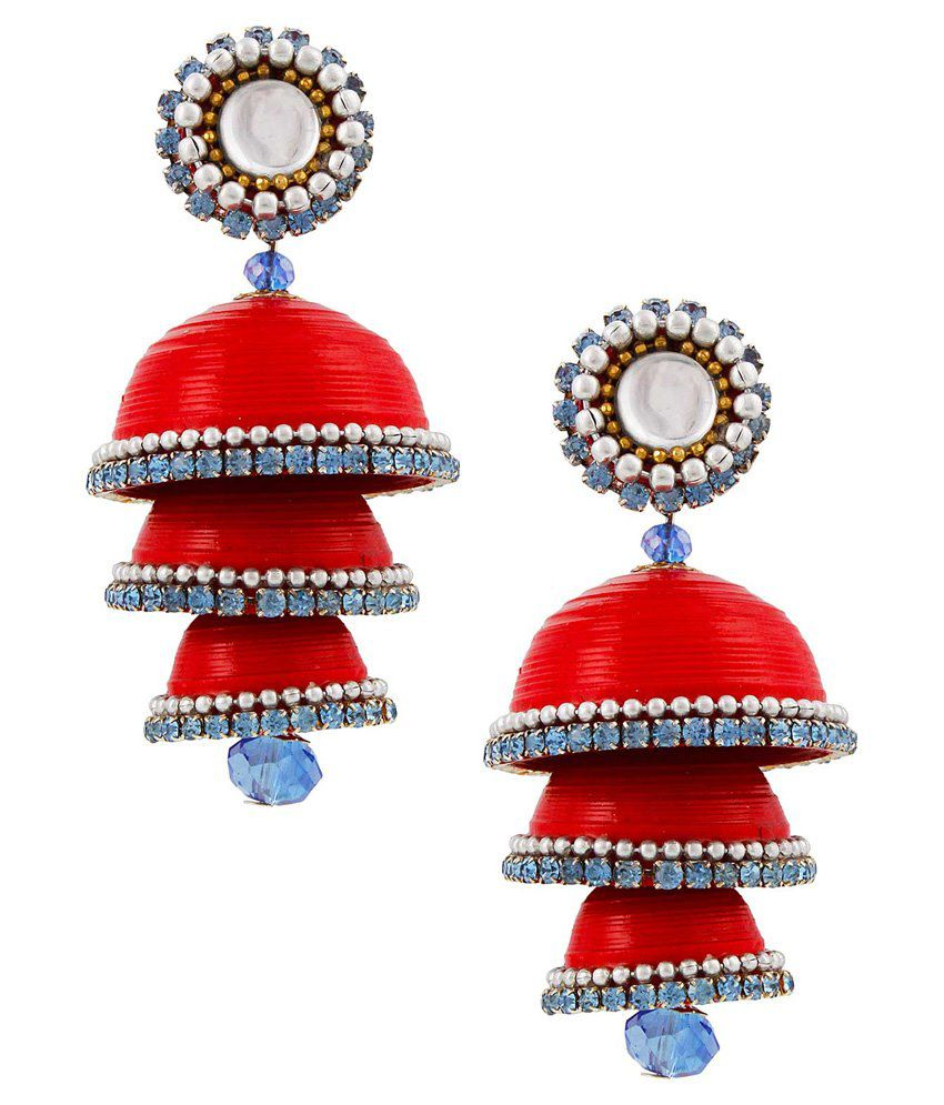 Bigcart Red Brass Jhumki Earrings