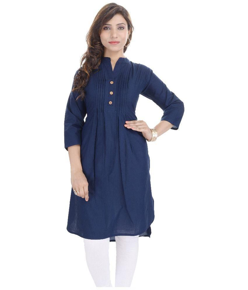 Shirt design kurti - Quick View Desier Blue Shirt Style Cotton Kurti