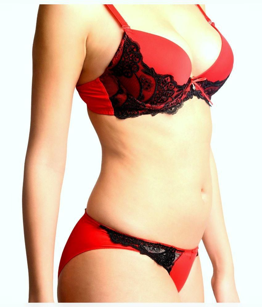 61f63223a5a Buy LaZoya Red Satin Bra   Panty Sets Online at Best Prices in India ...