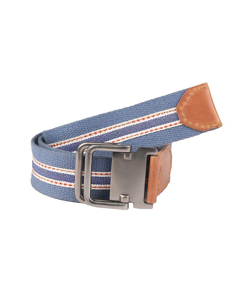 Paradigm Design Lab Blue & White Leather Casual Belt For Men