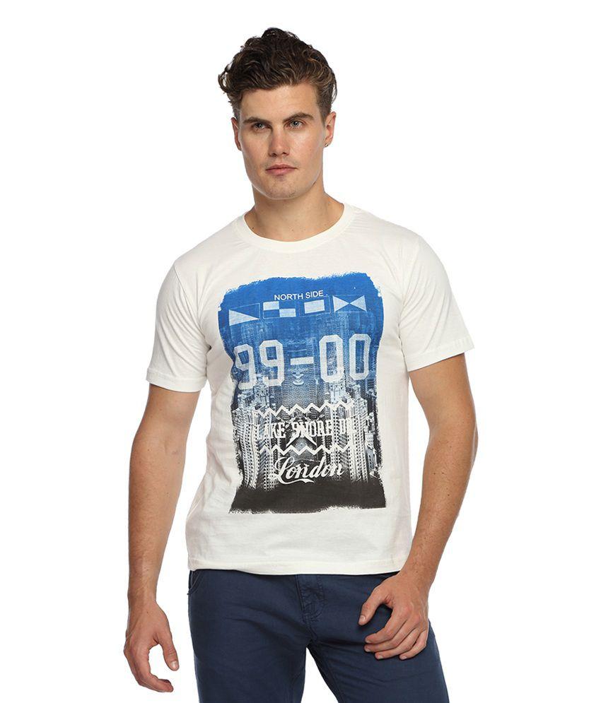 Afylish Off-white Cotton Printed T-shirt