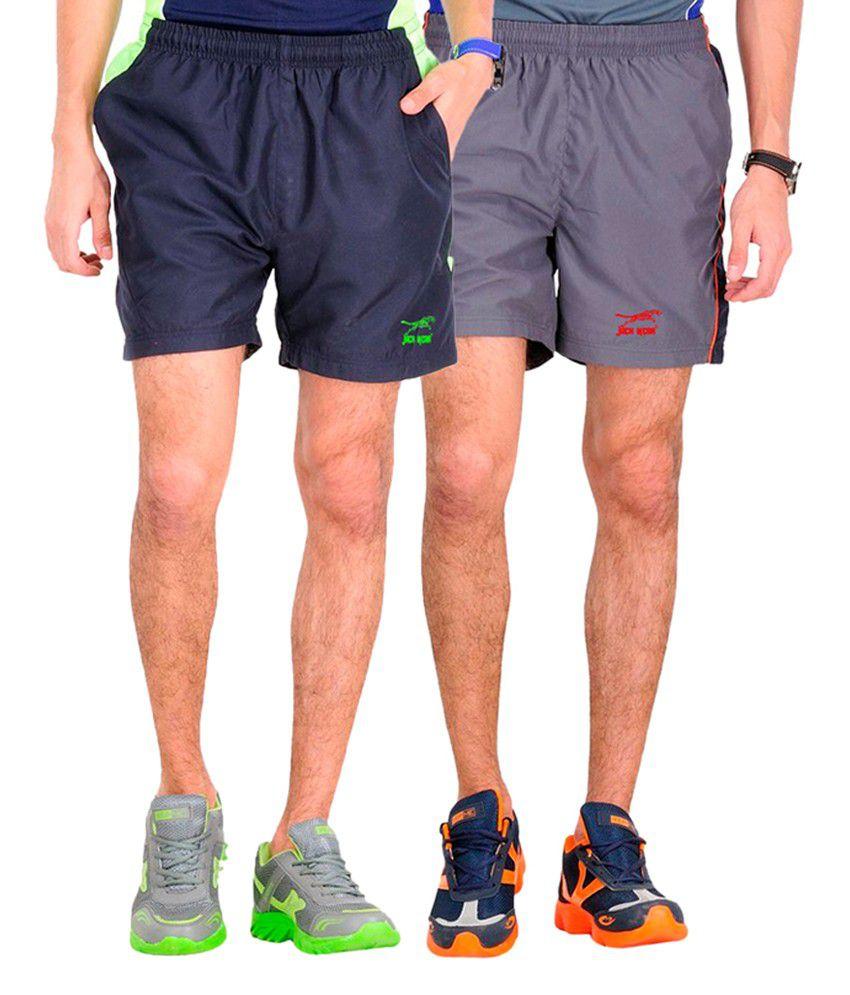Jack Wear Grey & Navy Blue Polyester Men's Shorts (pack Of 2)