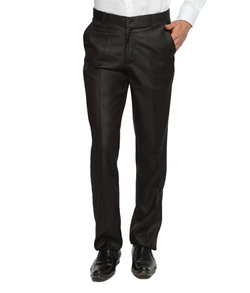 White House Black Blended Cotton Flat Trousers