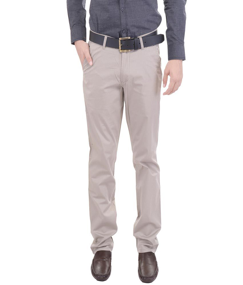 AARP'S Grey Slim Fit Flat Trousers