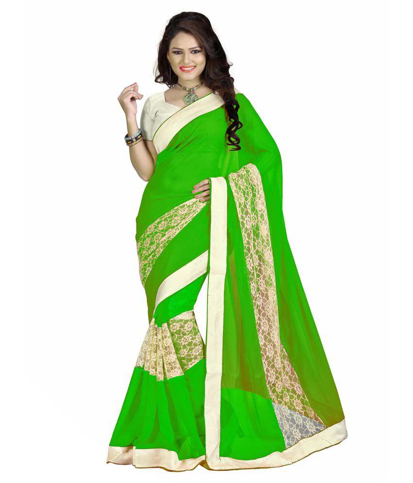 IndianEfashion Green Chiffon Designer Sarees