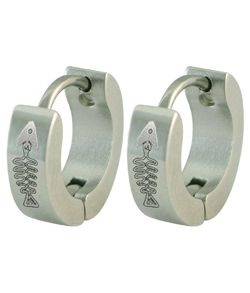 Men Style Silver Stainless Steel Hoop Earrings