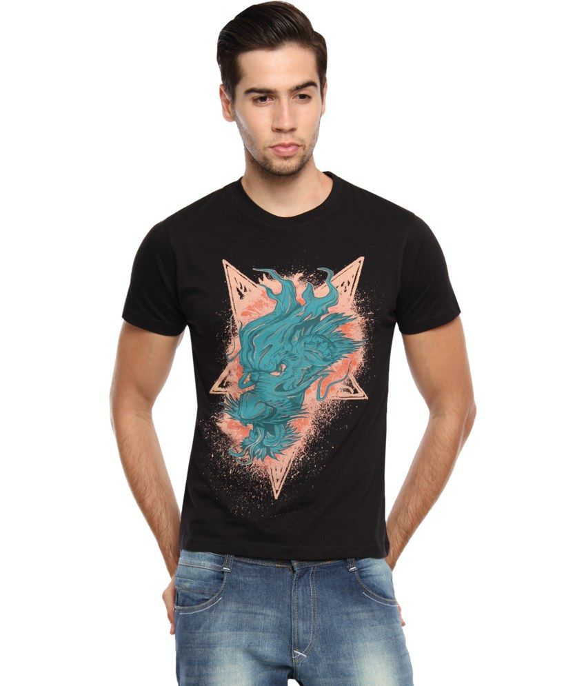 Zovi Black Cotton Dragon Head Graphic T-shirt