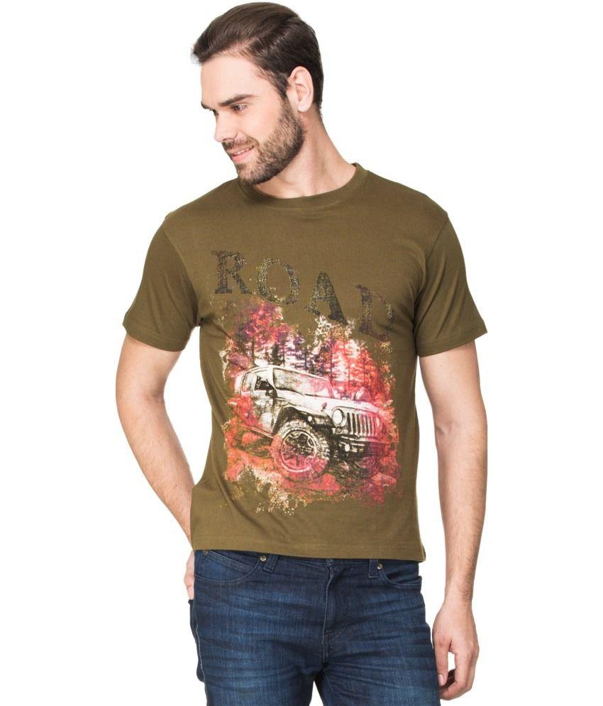 Zovi Green Cotton Road Graphic T-shirt