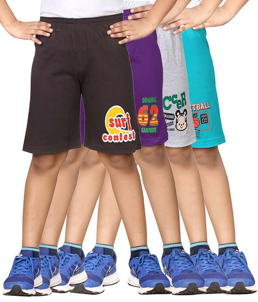 Dongli Multicolour Cotton Shorts - Pack Of 4