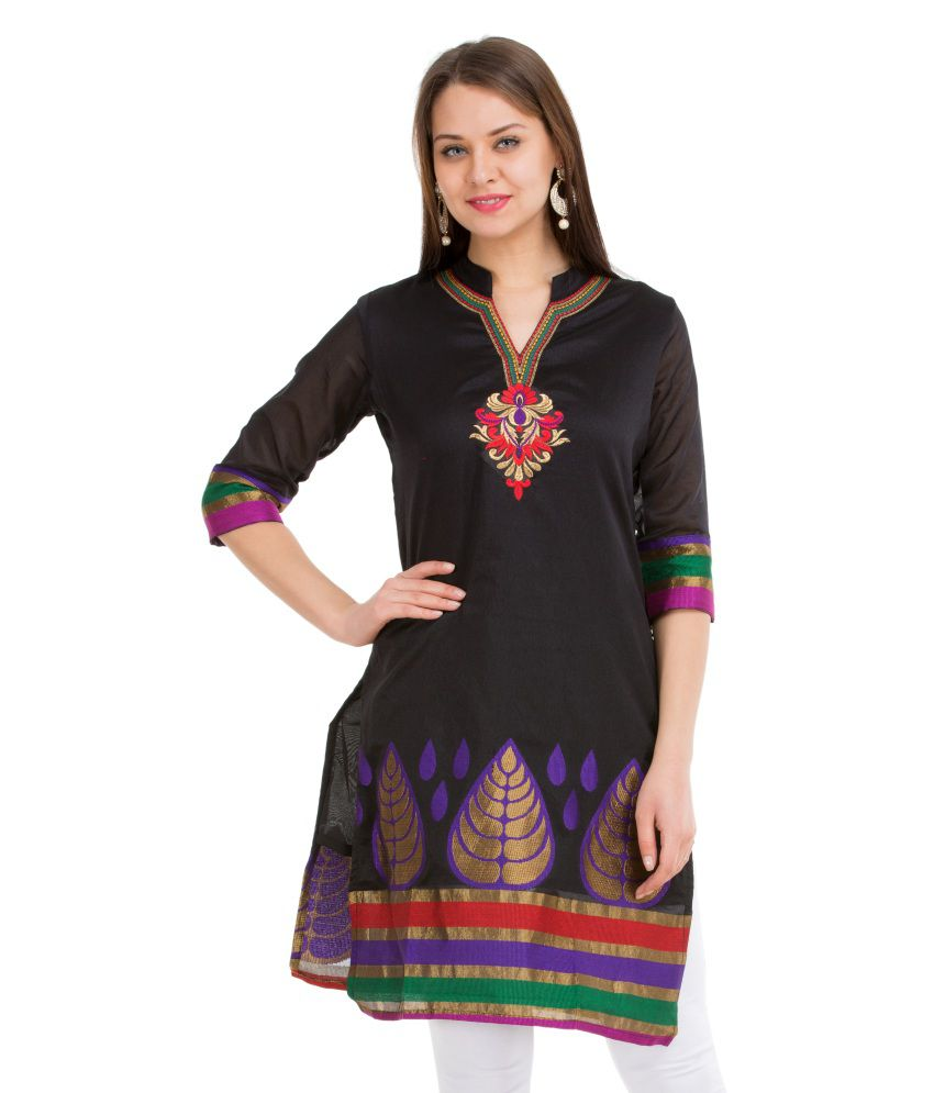 Veda Black Straight Cotton Kurti