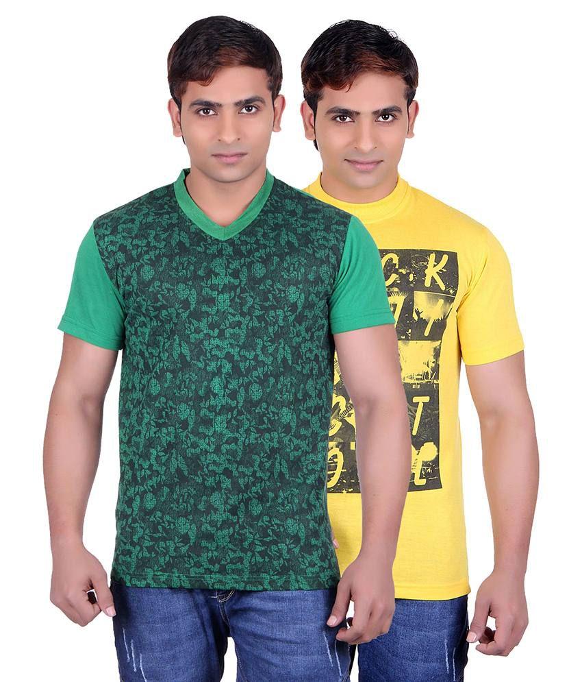 Runn93 Green & Yellow Round Neck T-shirt Pack Of 2