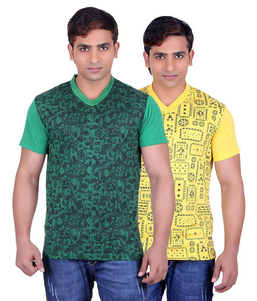 Runn93 Multicolour Round Neck T-shirt Pack Of 2