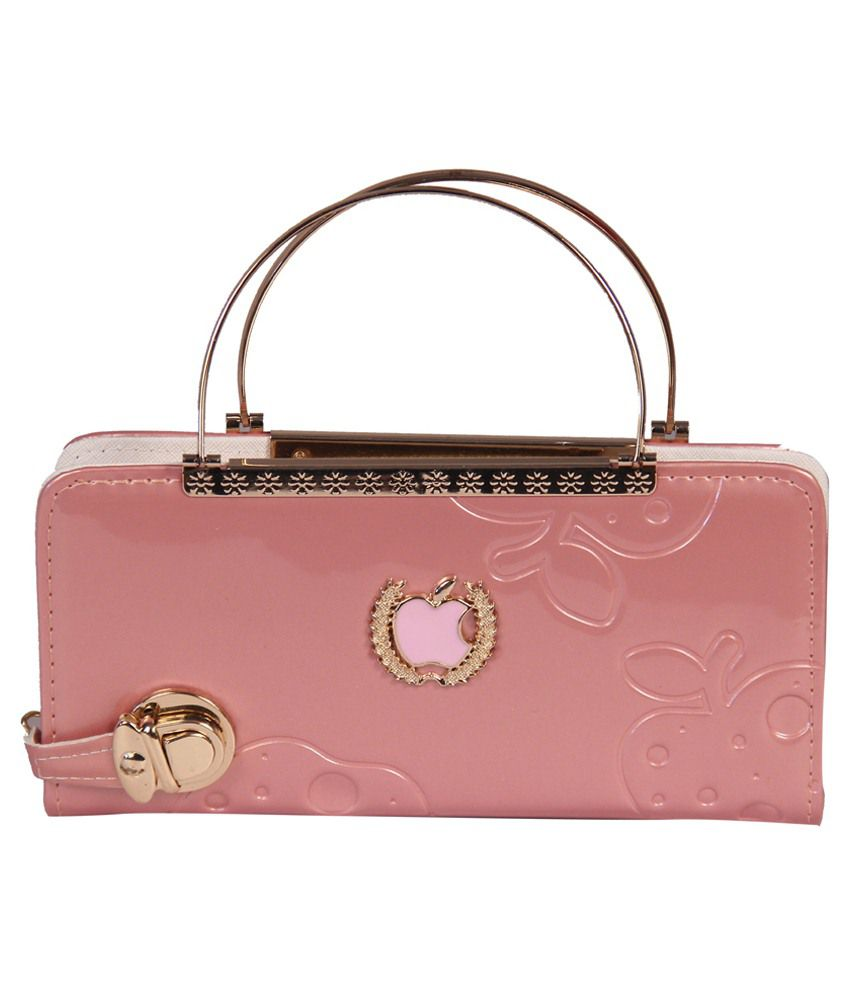 Blossom Pink Partywear Non Leather Clutch Cum Handle Clutch