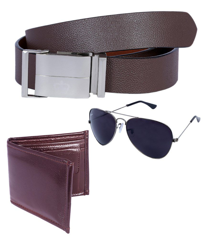 Hardy's Collection Brown Leather Belt With Wallet And Sunglasses For Men