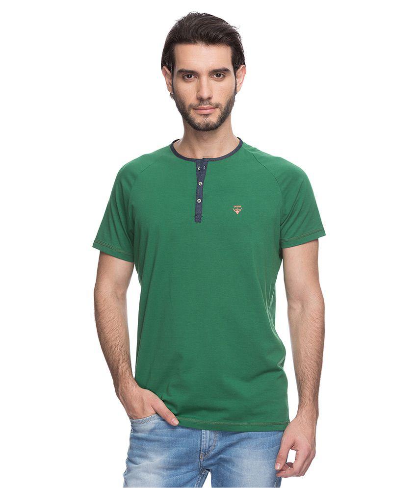 Spykar Green Solid T-Shirt