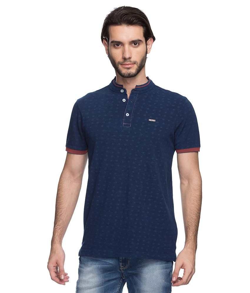 Spykar Navy Henley Collar T-Shirt