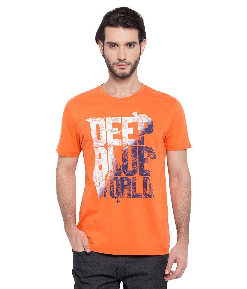 Spykar orange printed t shirt buy spykar orange printed for Single print t shirt