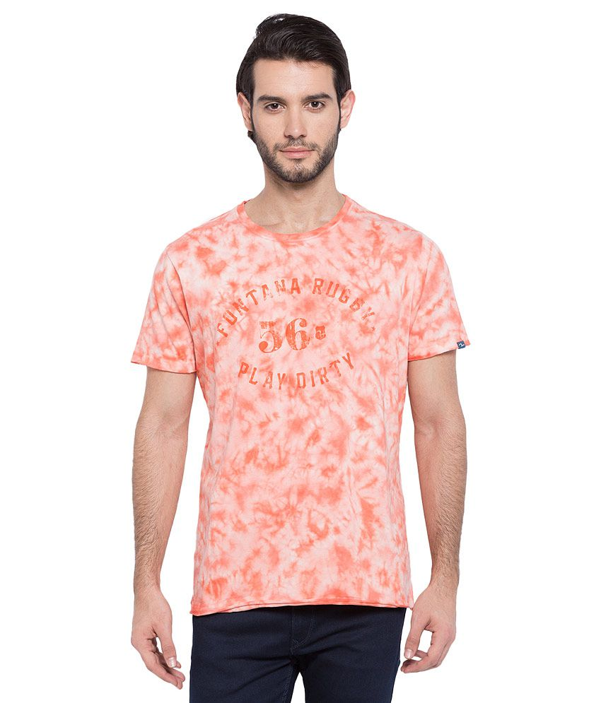 Spykar Orange Printed T-Shirt