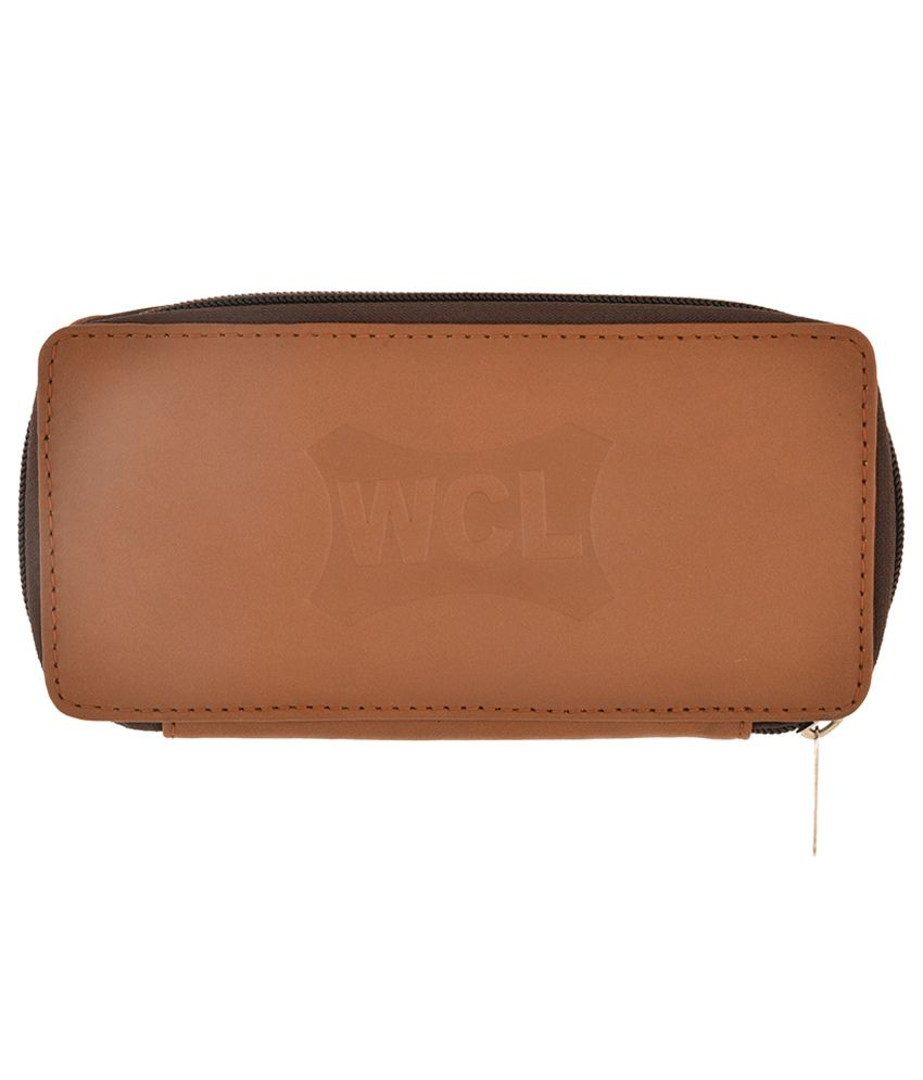 Wcl Brown Leather Keychain Pouch For Men