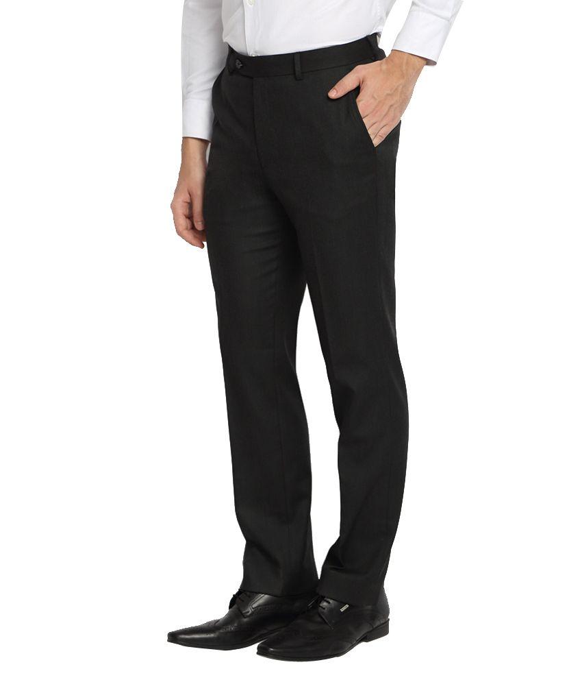 Suitltd Charcoal Grey Solid Slim Fit Trouser