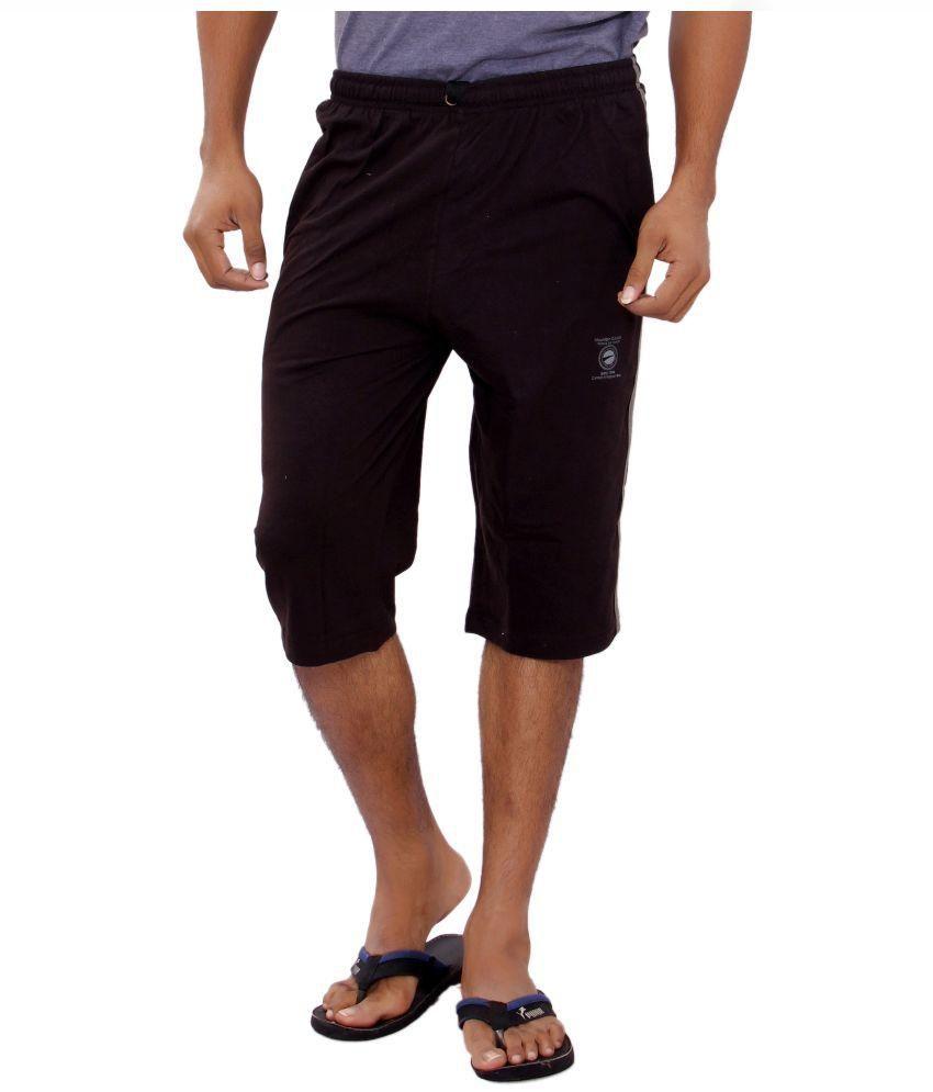 JTInternational Black Cotton 3/4ths Shorts