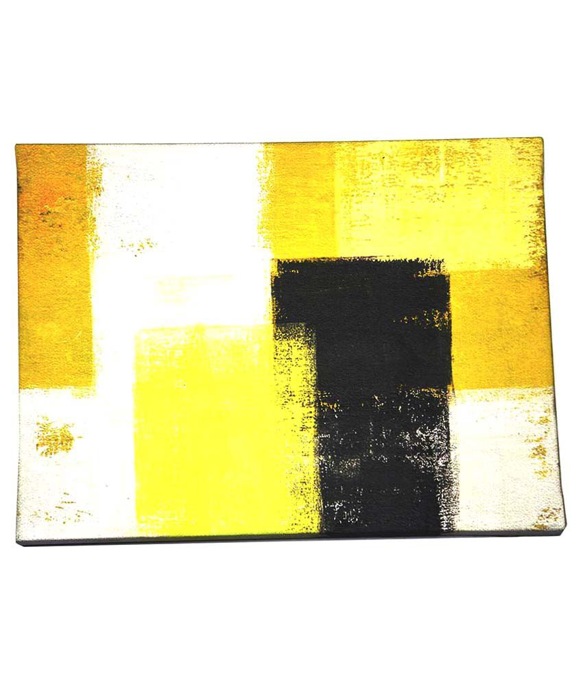 Quickprints Abstract Yellow & Grey Digital Canvas With Glossy Wooden Frame