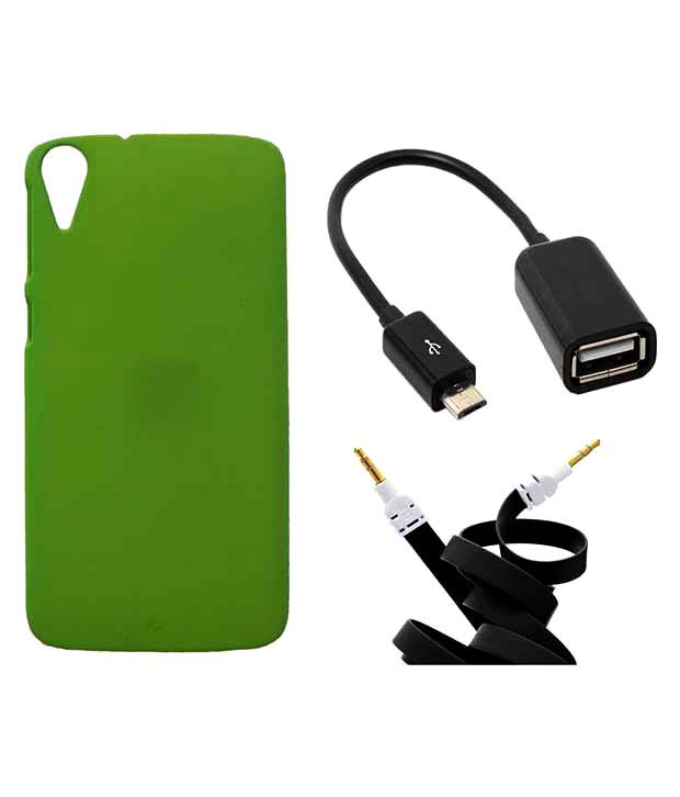 Toppings Plain Back Cover With Otg Cable & Aux Cable For Htc Desire 828 - Green