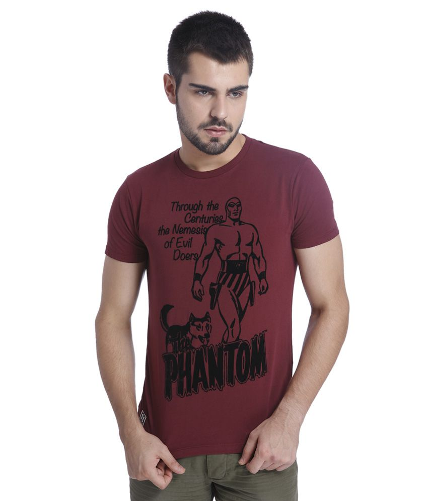 Jack & Jones Maroon Printed T-Shirt