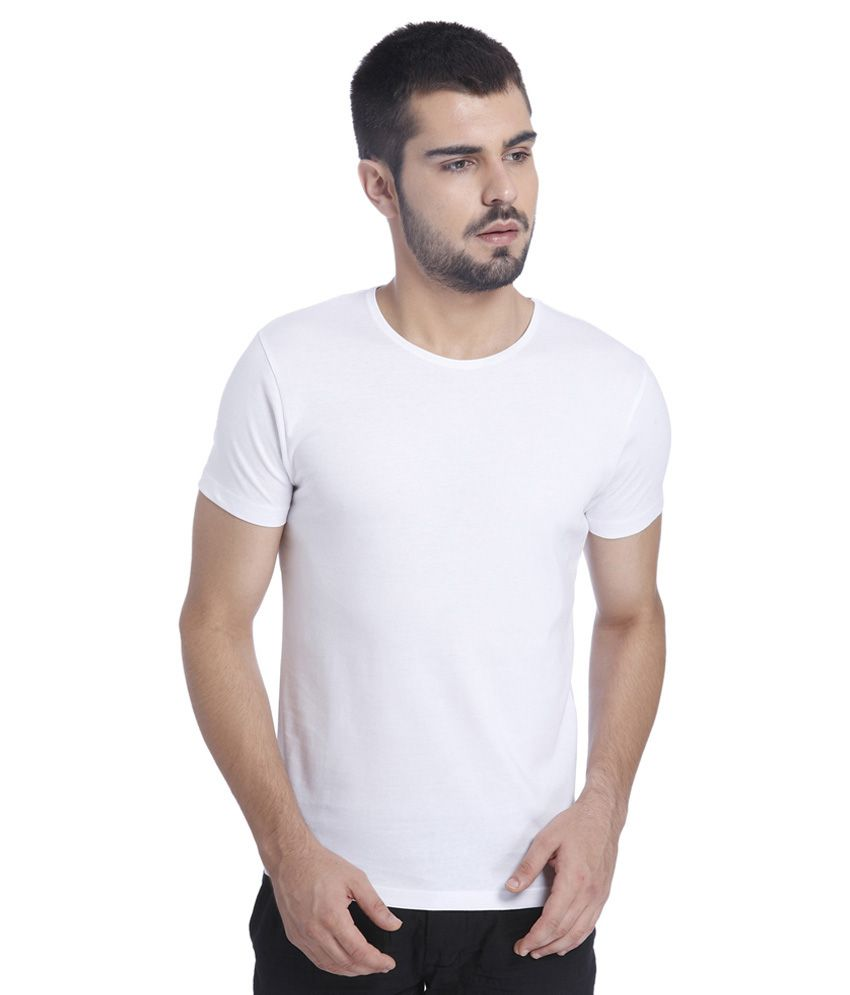 Jack & Jones White Solid T-Shirt