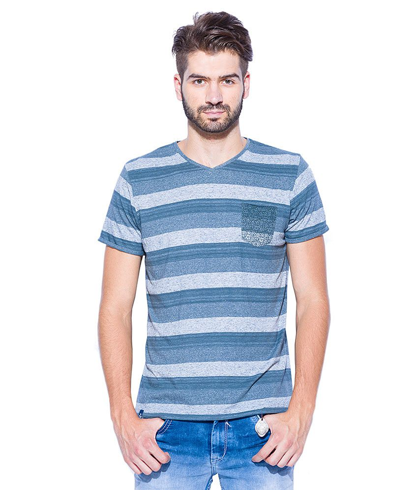 Mufti Blue Round Neck T Shirt