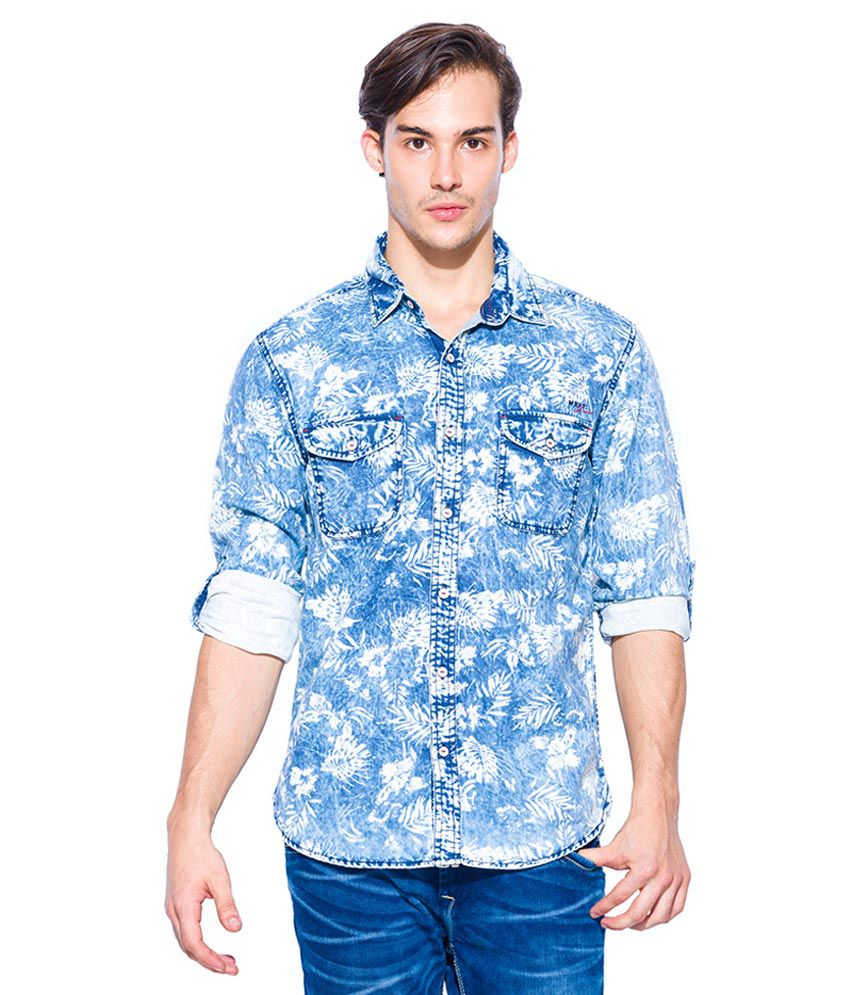 Flat 60% Off On Men's Shirts By Snapdeal | Mufti Blue Slim Fit Shirt @ Rs.1,127