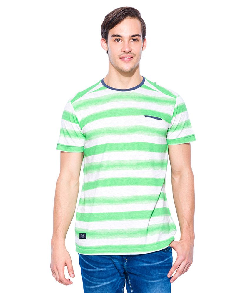 Mufti Green Round Neck T Shirt