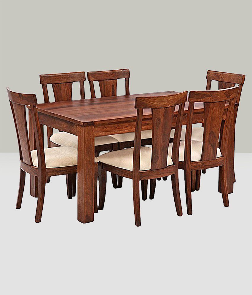 ... Ethnic India Art Lisbon 6 Seater Sheesham Wood Dining Set With Table