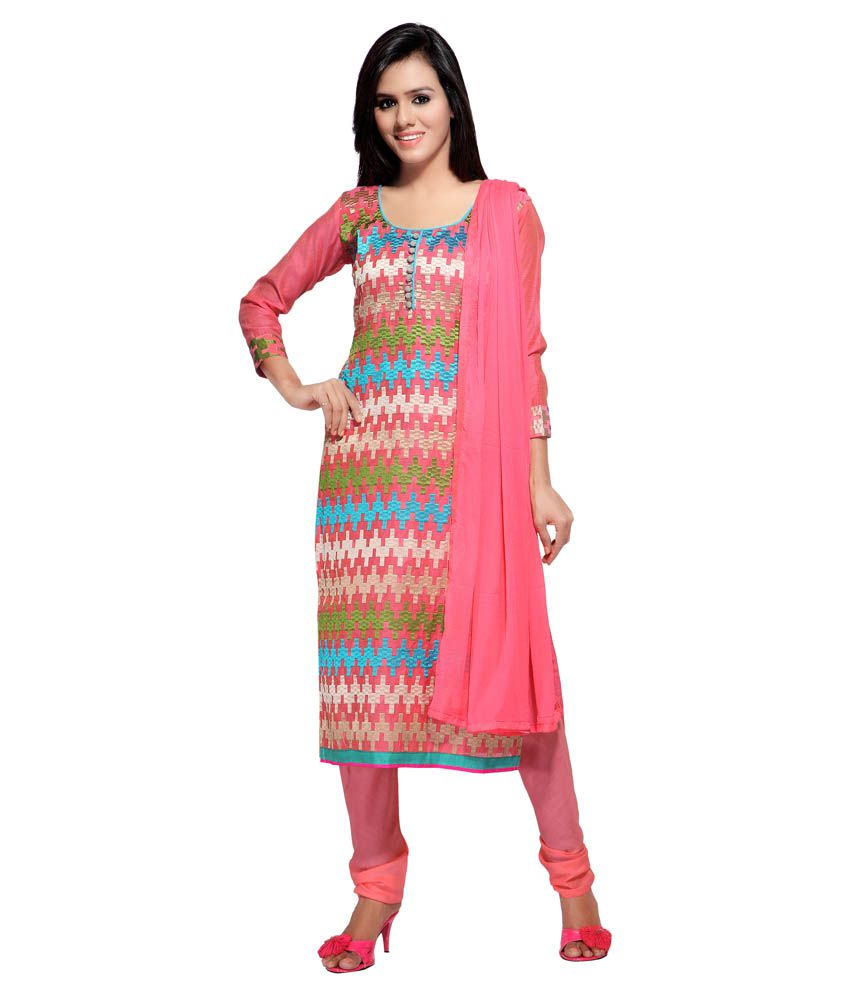 7 Colors Lifestyle Pink Chanderi Unstitched Dress Material