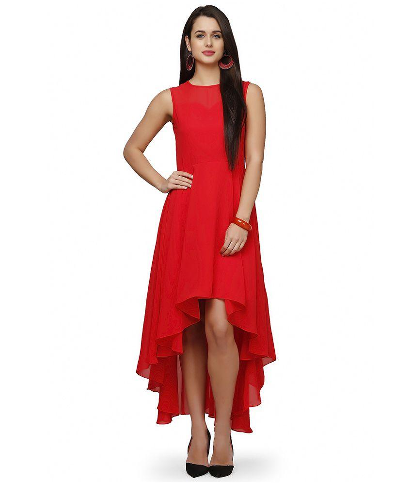 Eavan Red Poly Georgette Dresses