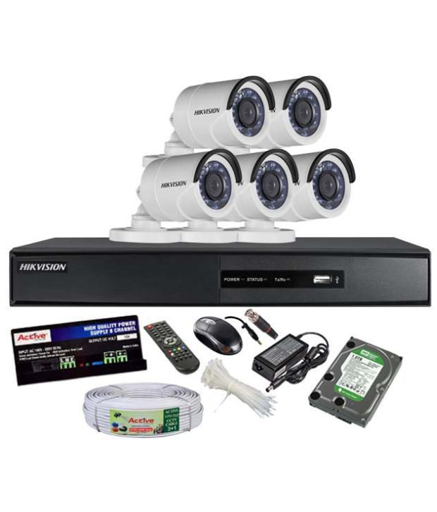 Hikvision-DS-7208HGHI-SH-8-CH-Dvr,-5(DS-2CE16COT-IRP)-Bullet-Camera-(With-Mouse,-Remote,1TB-HDD,Cable,-Bnc&Dc-Connectors,Power-Supply)