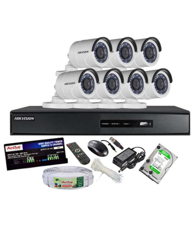 Hikvision-DS-7208HGHI-SH-8CH-Dvr,-7(DS-2CE16COT-IRP)-Bullet-Cameras-(With-Mouse,-Remote,-2TB-HDD,-Bnc&Dc-Connectors,Power-Supply,-Cable)