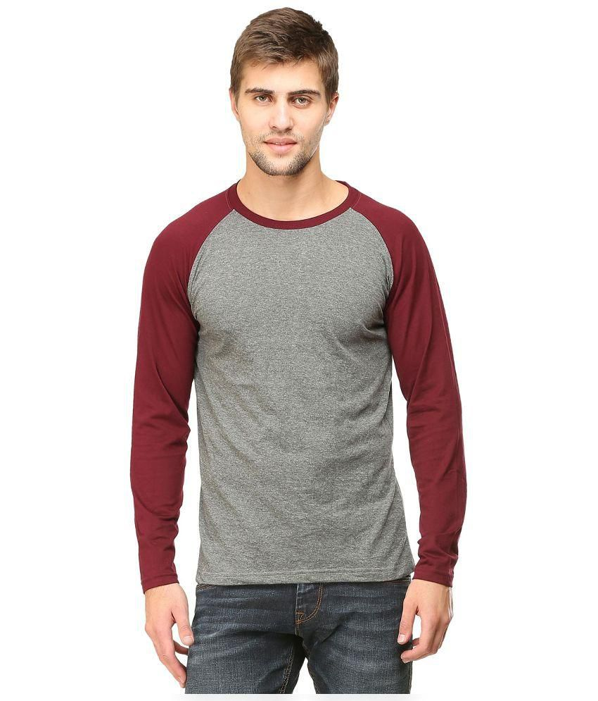 Tee Talkies Grey and Maroon Round Neck T-Shirt