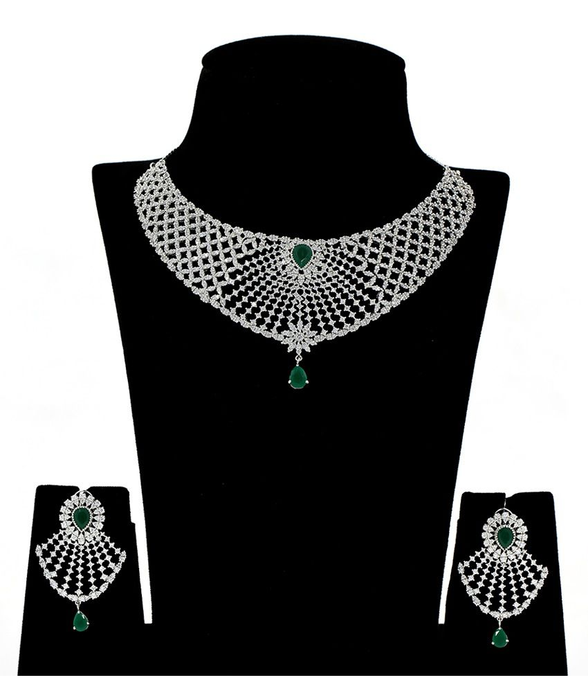 Abhijewels 92.5 Bis Hallmarked Silver Necklace Set With Bracelet