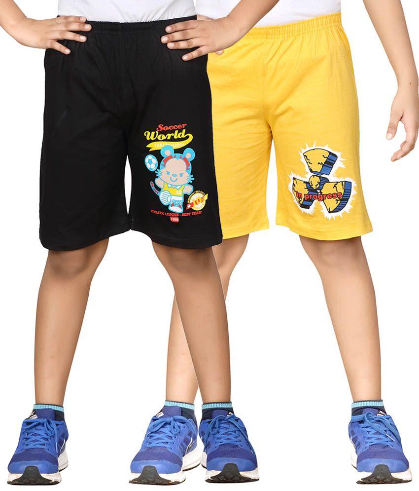 Dongli Black & Yellow Shorts For Boys Set Of 2